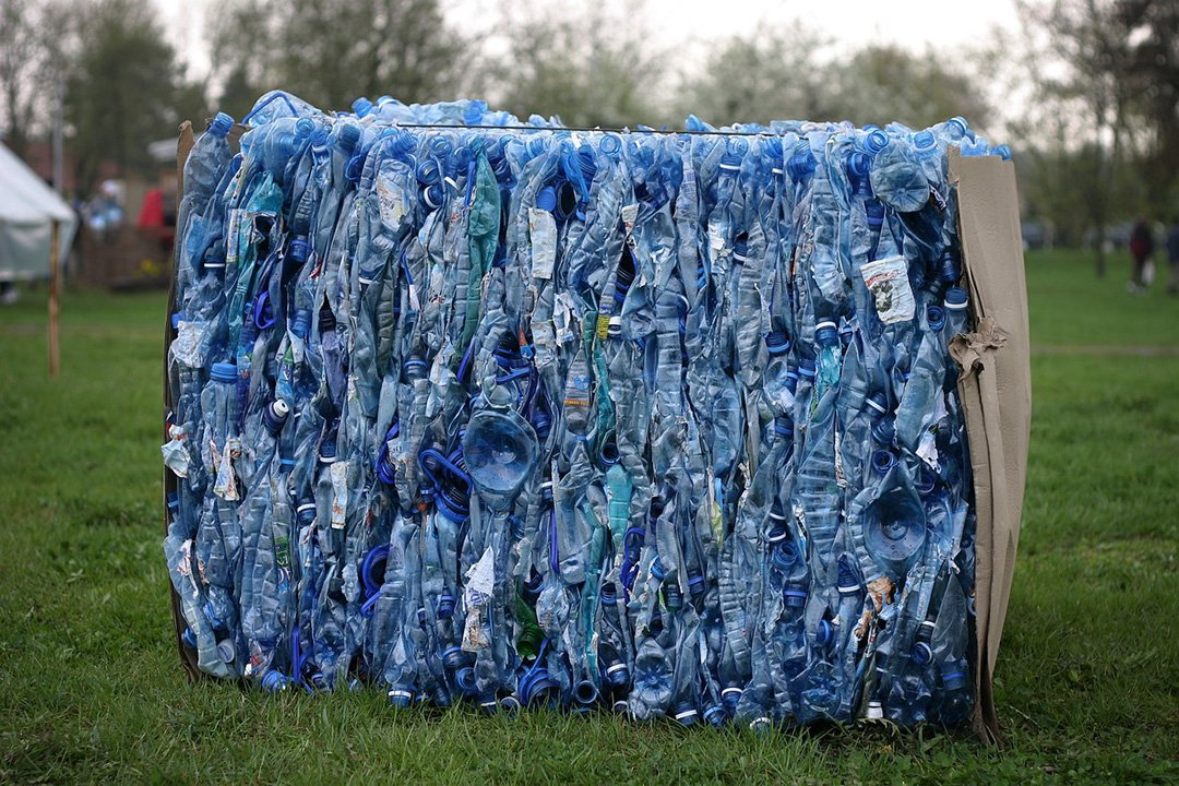 Plastic bottles crushed for recycling