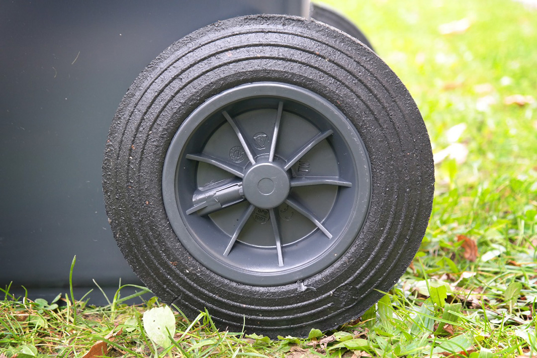 Plastic wheel on bin is one of end-markets for recyclate
