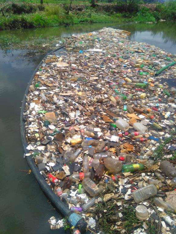 Litter collected in a river boom