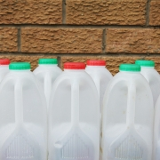 Plastic milk bottles made from PE-HD