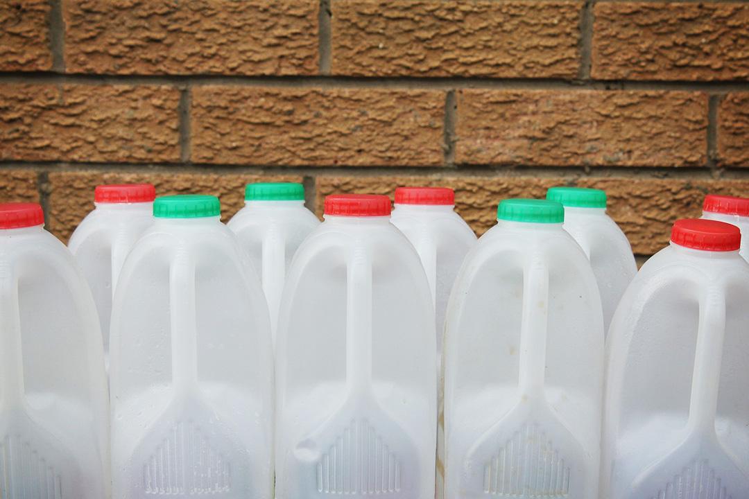 Plastic milk bottles made from PE-HD